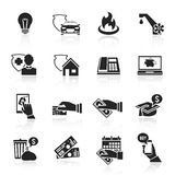 Uppsättning för svart för symboler för lönräkning Royaltyfria Bilder