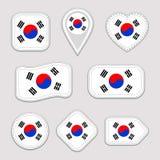 Uppsättning för Sydkorea flaggavektor Sydkoreansk nationsflaggaklistermärkesamling Vektor isolerade geometriska symboler Rengörin stock illustrationer