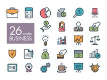 Uppsättning för symbol för affärs- och finansrengöringsduköversikt Arkivfoton