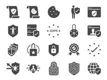 Uppsättning för symbol för avskildhetspolitik Inklusive symbolerna som information om säkerhet, GDPR, dataskydd, sköld, kakapolit stock illustrationer