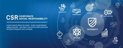 Uppsättning för symbol för baner för CSR-samkväm ansvarrengöringsduk och rengöringsduktitelradförbud vektor illustrationer