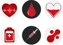 Uppsättning för symbol för bloddonation Hjärta, blod, droppe, räknare, injektionsspruta och mataballmolekyl för illustrationsköld Royaltyfri Bild
