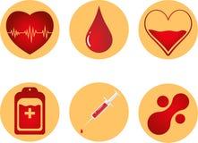 Uppsättning för symbol för bloddonation Hjärta, blod, droppe, räknare, injektionsspruta och mataballmolekyl för illustrationsköld Arkivbilder