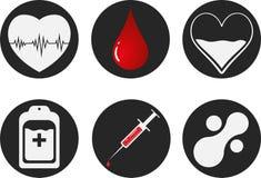 Uppsättning för symbol för bloddonation Hjärta, blod, droppe, räknare, injektionsspruta och mataballmolekyl för illustrationsköld Arkivfoton