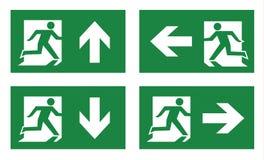 Uppsättning för symbol för brandutgång vektor illustrationer