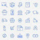 Uppsättning för symbol för Cybermåndag shopping royaltyfri illustrationer