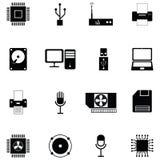 Uppsättning för symbol för datormaskinvara royaltyfri illustrationer