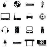 Uppsättning för symbol för datormaskinvara stock illustrationer