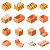 Uppsättning för symbol för emballageask, isometrisk stil 3d vektor illustrationer