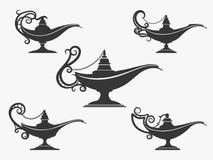 Uppsättning för symbol för Aladdin lampa royaltyfri illustrationer