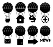 Uppsättning för symbol för ballong för varm luft Royaltyfria Bilder