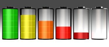 Uppsättning för symbol för batteri 3d full Royaltyfria Foton