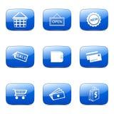 Uppsättning 2 för symbol för blått för vektor för shoppingteckenfyrkant Arkivbilder