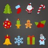 Uppsättning för symbol för design för julvektorlägenhet. Lyckligt nytt y royaltyfri illustrationer