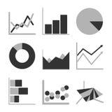 Uppsättning för symbol för diagram för diagram för affärsgraf för designpresentation in, mono signal Arkivbild