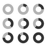 Uppsättning för symbol för diagram för diagram för affärsgraf för designpresentation in, munkpajdiagram i mono signal Fotografering för Bildbyråer