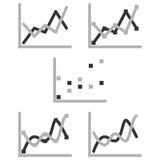 Uppsättning för symbol för diagram för diagram för affärsgraf för designpresentation in, scatterdiagram i mono signal Arkivbild