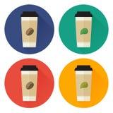 Uppsättning för symbol för för tagande-bortkaffe och te plan Arkivfoto