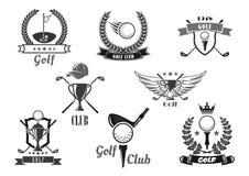 Uppsättning för symbol för golfsportklubba för sportslig design stock illustrationer