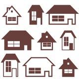 Uppsättning för symbol för husbyggnad Hem- konturer vektor illustrationer