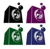 Uppsättning för symbol för illustration för bubblandeljud-system högtalare Arkivbild