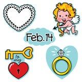 Uppsättning för symbol för illustration för förälskelse för valentindag riktig med kupidonet Arkivbilder