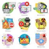 Uppsättning för symbol för internetsäkerhetslägenhet Fotografering för Bildbyråer