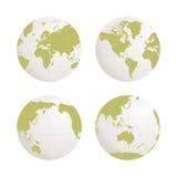 Uppsättning för symbol för jordklotjordvektor på vit bakgrund Arkivfoton
