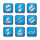 Uppsättning för symbol för jul för nytt år blå Arkivfoton