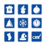 Uppsättning för symbol för jul för nytt år blå Arkivbilder