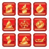 Uppsättning för symbol för jul för nytt år röd guld- Arkivfoton