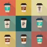 Uppsättning för symbol för kaffekopp Royaltyfria Foton