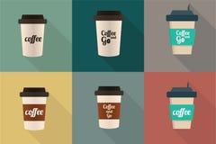Uppsättning för symbol för kaffekopp Arkivfoto