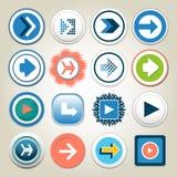 Uppsättning för symbol för knapp för pilvektor 3d Den isolerade manöverenhetslinjen symbolet för digital illustration för app, fö Royaltyfri Foto