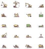 Uppsättning för symbol för konstruktionsmaskineri Arkivbild