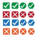 Uppsättning för symbol för kontrollask Royaltyfria Bilder