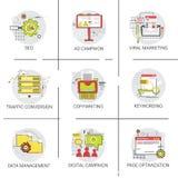 Uppsättning för symbol för ledning för trafikomvandlingsSeo Marketing Ad Campaign Optimization data stock illustrationer