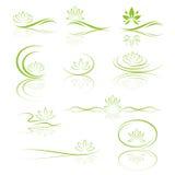 Uppsättning för symbol för Lotus blomma Arkivfoton