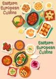 uppsättning för symbol för lunch för Östlig-europé kokkonstkött vektor illustrationer