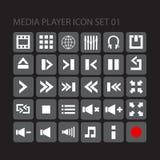 Uppsättning 01 för symbol för massmediaspelare Fotografering för Bildbyråer