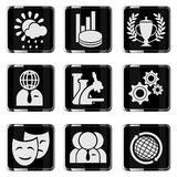 Uppsättning för symbol för massmediavektor glansig Arkivfoto