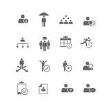 Uppsättning för symbol för personalresursaffärsledning Arkivbild