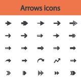 Uppsättning för symbol för pilteckenlägenhet Enkel internetknapp Arkivfoton