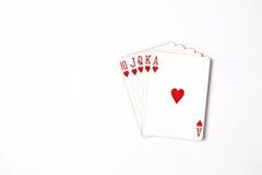 Uppsättning för symbol för rang för pokerhand som spelar kort i kasino: Kunglig spolning på vit bakgrund, lyckaabstrakt begrepp, Royaltyfria Bilder