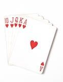 Uppsättning för symbol för rang för pokerhand som spelar kort i kasino: Kunglig spolning på vit bakgrund, lyckaabstrakt begrepp, Royaltyfri Foto