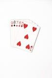 Uppsättning för symbol för rang för pokerhand som spelar kort i kasino: raksträcka på vit bakgrund Arkivfoton