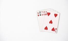 Uppsättning för symbol för rang för pokerhand som spelar kort i kasino: raksträcka på vit bakgrund, lyckaabstrakt begrepp Royaltyfria Bilder