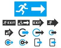 Uppsättning för symbol för raster för lägenhet för brandutgång Arkivfoto