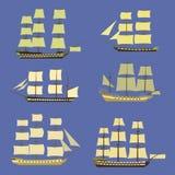 Uppsättning för symbol för seglingskepp Royaltyfria Foton