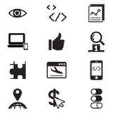 Uppsättning för symbol för SEO Search motoroptimization Royaltyfri Foto
